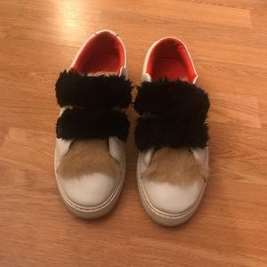 ZARA Fuzzy White Sneakers